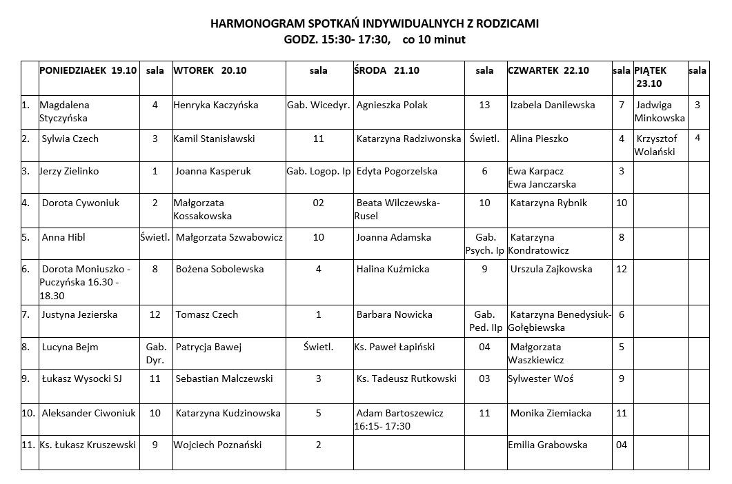 Harmonogram spotkań indywidualnych w październiku 2020